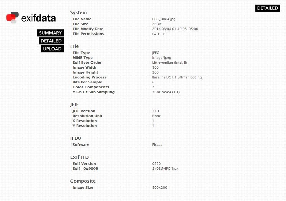 EXIF Data Details