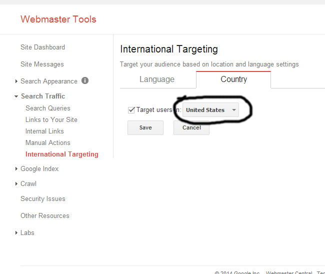 Google Webmaster Tools - Geographic Targeting