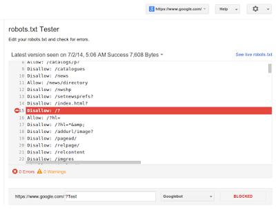 robot.txt tester - Google webmaster tools