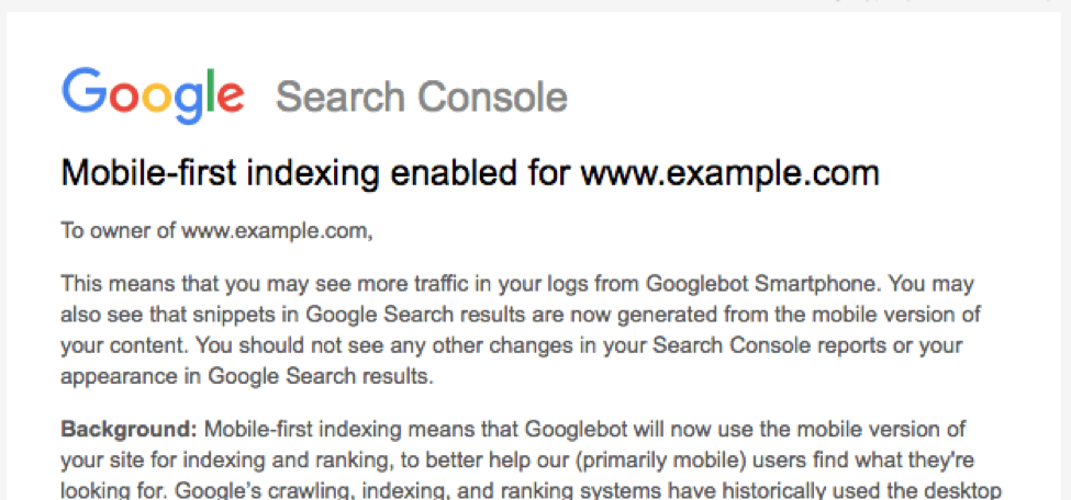 Mobile-First Indexing Google Search Console